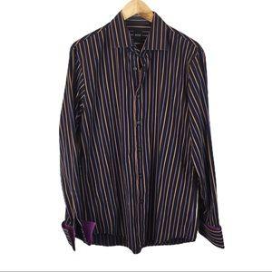 Hugo Boss black and purple stripe shirt